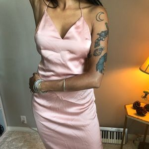 Pretty Pink Satin Knee Length slip dress 90s S